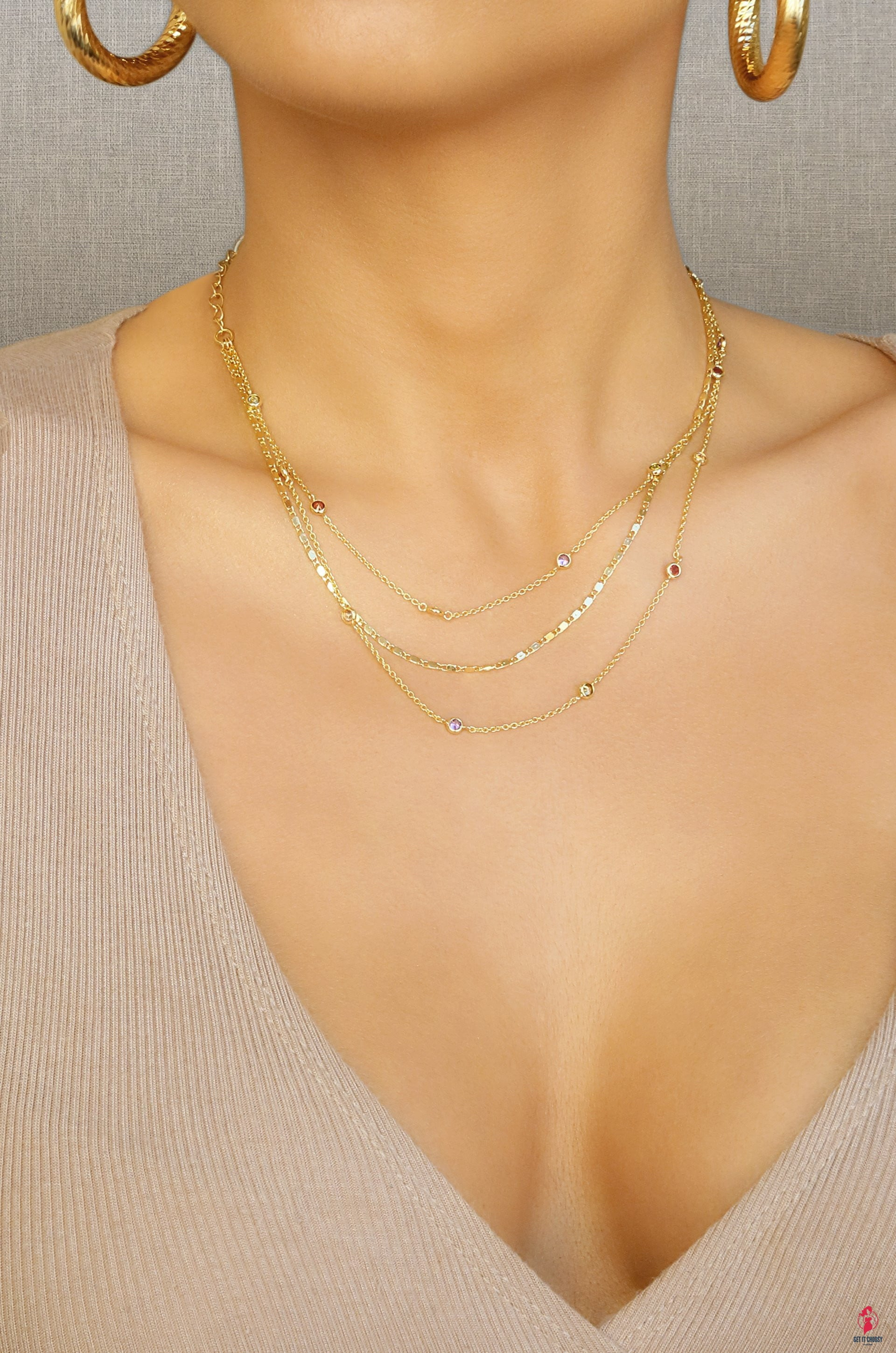 Over the Rainbow Layered Gold Chain Necklace by Getitchoosy