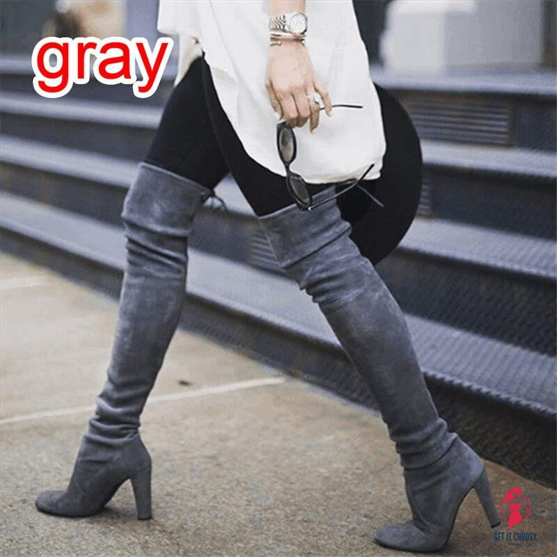 Women's Sexy Low Block Heel Shoe Over-knee boots by Getitchoosy