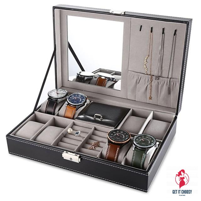 PU Leather Watch Box Jewelry Case Multifunctional by Getitchoosy
