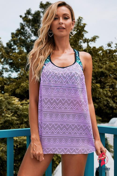 Purple Printed Patchwork Vest Lace Tankini Top by Getitchoosy