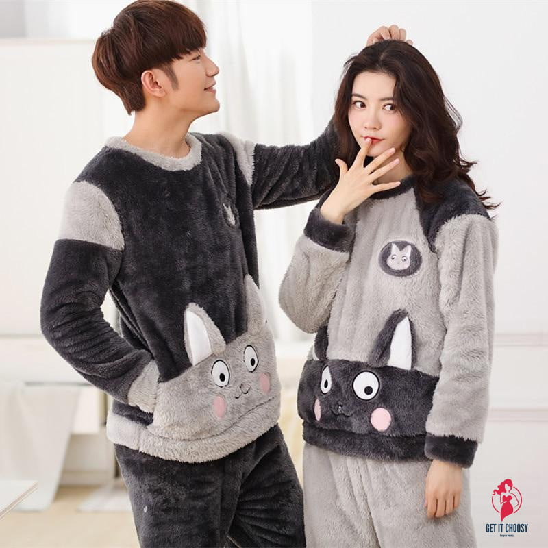 Cartoon Print Couple Pajamas by Getitchoosy
