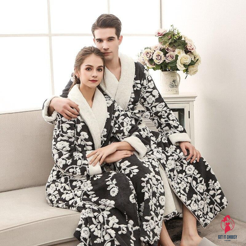 Long Robe Thick Flannel Couple Bathrobe by Getitchoosy