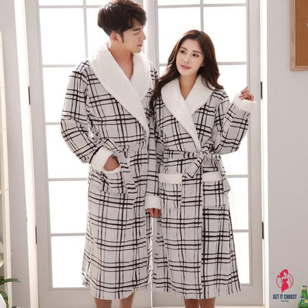 Flannel Thick Warm Couple Bathrobe by Getitchoosy