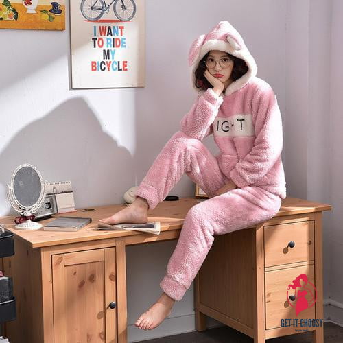 Winter Long Sleeve Hooded Sleepwear Flannel by Getitchoosy