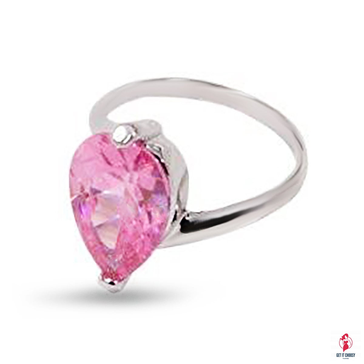 Large Pink Pear Shape Solitaire Cubic Zirconia by Getitchoosy