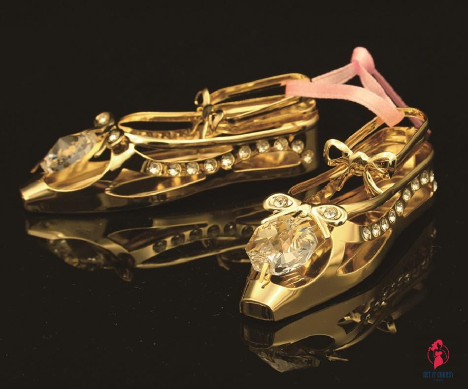24K gold plated ballerina shoes with Swarovski by Getitchoosy