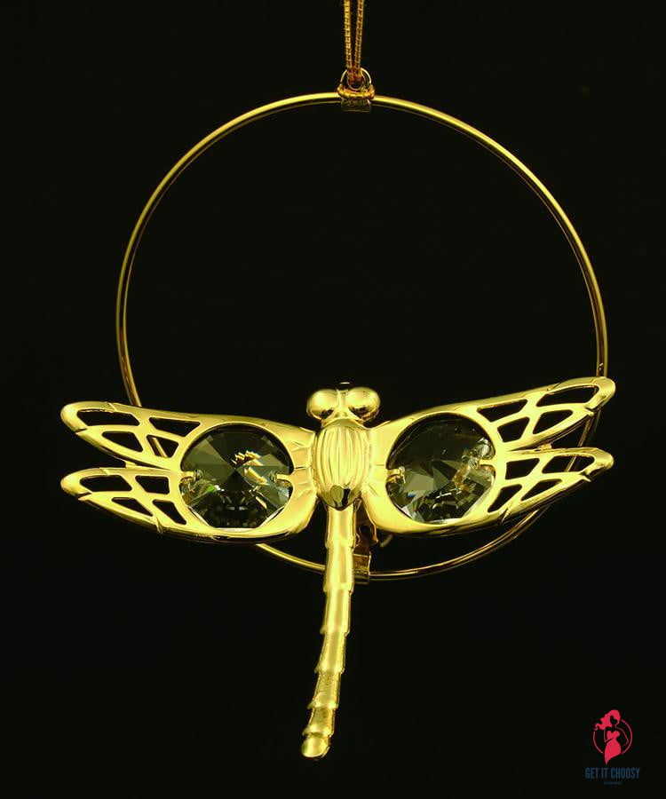 24K gold plated dragonfly with Swarovski crystal by Getitchoosy