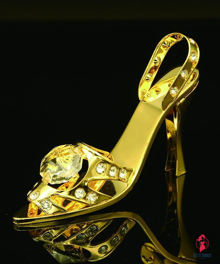 24K gold plated high heel shoe with Swarovski by Getitchoosy