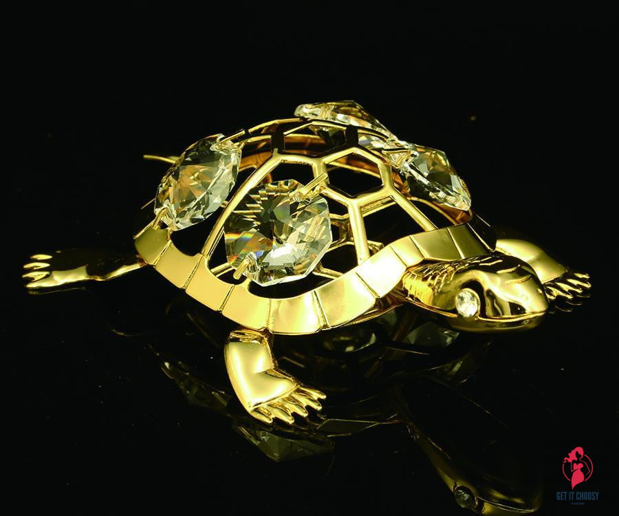 24K gold plated turtle tortoise with Swarovski by Getitchoosy