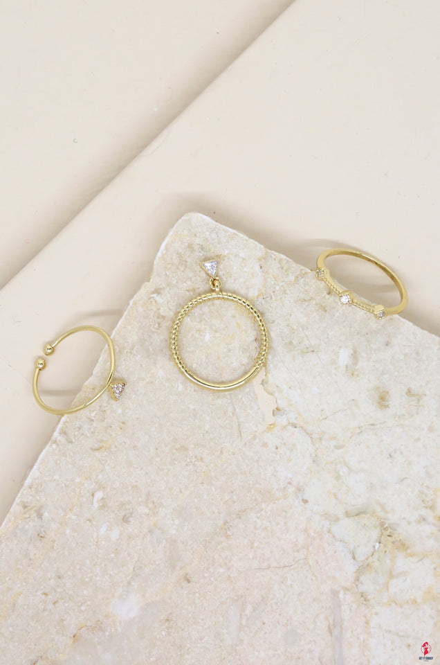 Geometric Dainty Ring Set of 3 in Gold with by Getitchoosy