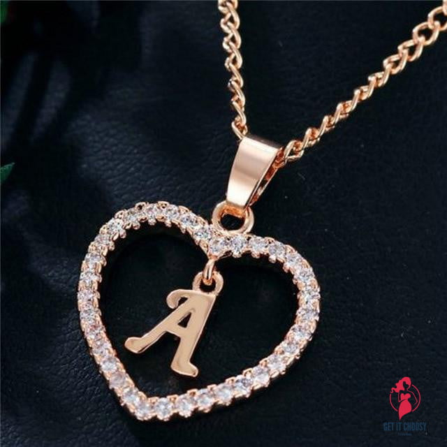 Romantic Love Pendant Necklace Rhinestone Initial Letter Necklace Alphabet Gold Collars Trendy New Charms by Getitchoosy