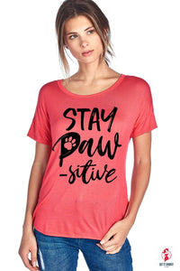 STAY PAW-SITIVE W/ PAW DESIGN SHORT SLEEVE TOP by Getitchoosy