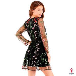 Sheer Mesh Boho Floral Embroidery Dress by Getitchoosy