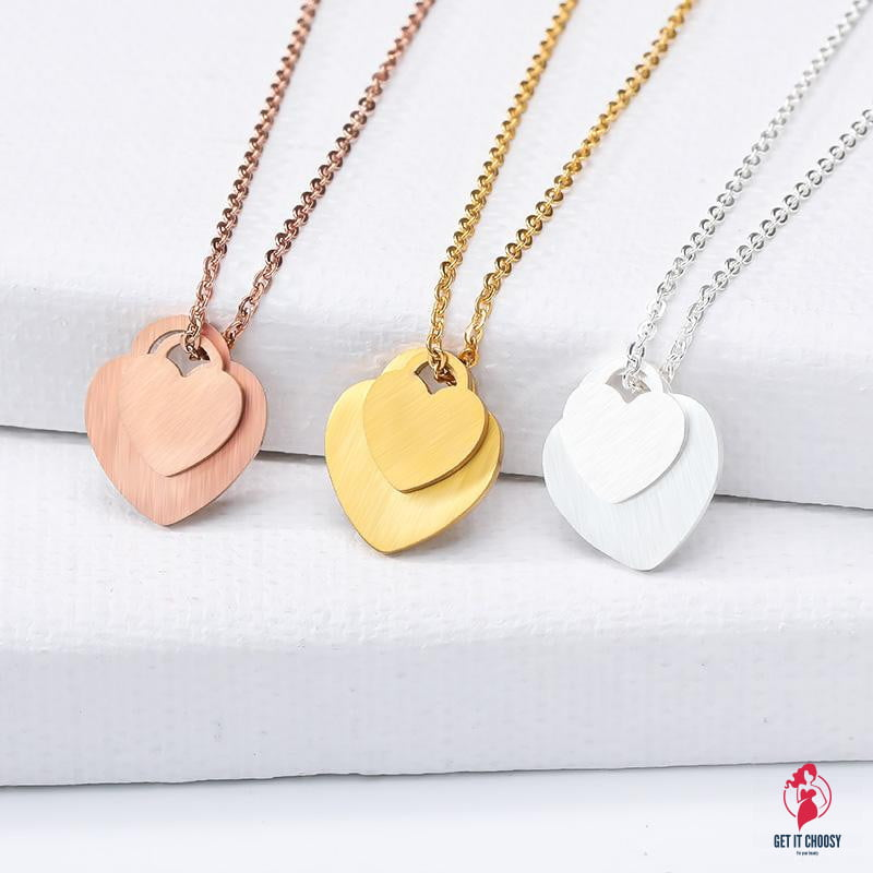Simple Double Heart Necklaces Pendants by Getitchoosy