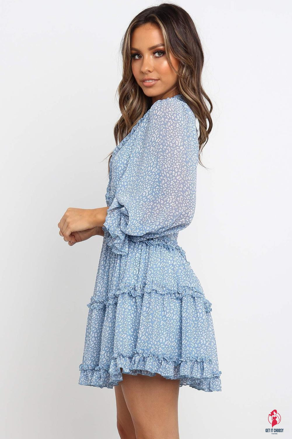 Sky Blue Ruffle Detailing V-neck Open Back Floral by Getitchoosy