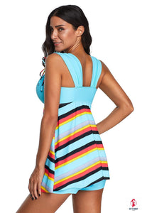 Sky Blue Striped Swimdress with Shorts by Getitchoosy