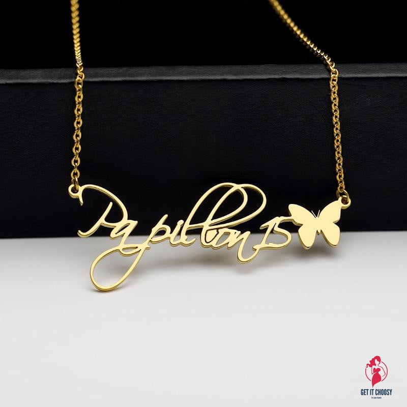 Stainless Steel Personalized Butterfly Name by Getitchoosy