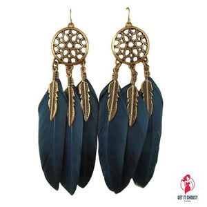 Stylish Bohemia Earrings Feather Long Design Dream by Getitchoosy