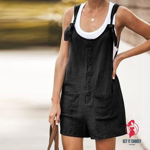 Women Sleeveless Suspender Buttons Pocket by Getitchoosy