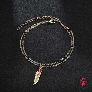Double Chain Leaf Anklet Jewelry by Getitchoosy