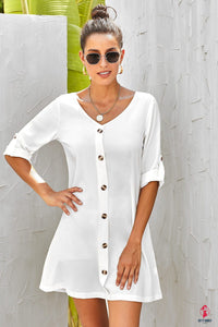 V Neck Button Front Roll up Tab Sleeve Casual White Dress by Getitchoosy