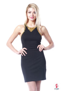 Sleeveless Gold Beads Neck Mini Dress by Getitchoosy