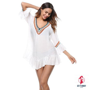 White Beach Cover-up Swim Dress Tunic Swimsuit by Getitchoosy