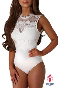 White Lace High Neck Cut Out Back Bodysuit by Getitchoosy