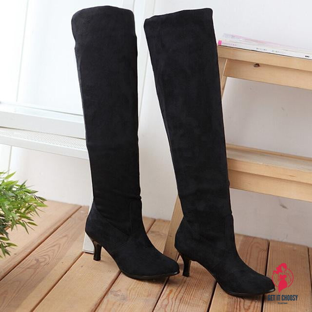 Women Block Middle Heels Thigh High Boots by Getitchoosy