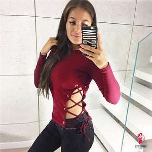 Women Casual Long Sleeve Tops Sexy Lace Up Blouse by Getitchoosy