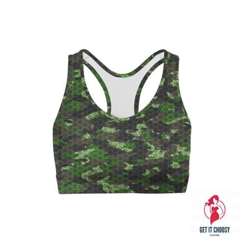 Army Hex Camo Sports Bra by Getitchoosy