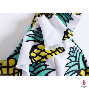 Sexy Ruffled Women Print Pineapple Bathing Suit by Getitchoosy