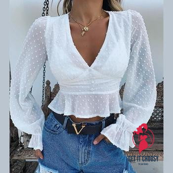 sexy chiffon transparent ruffles tops shirts by Getitchoosy