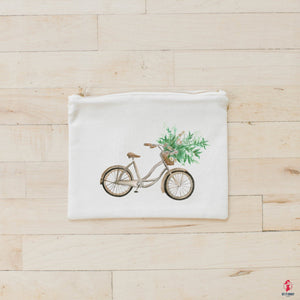 Floral Bike Watercolor Cosmetic Bag by Getitchoosy