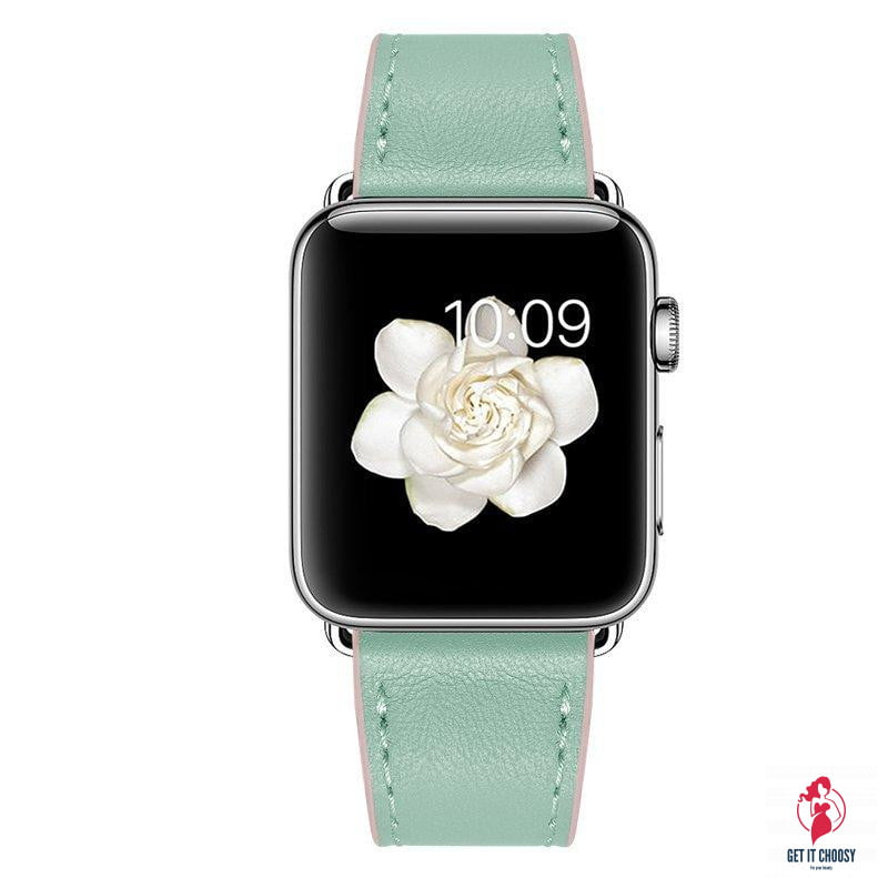 Green Leather Apple Watch Band by Getitchoosy