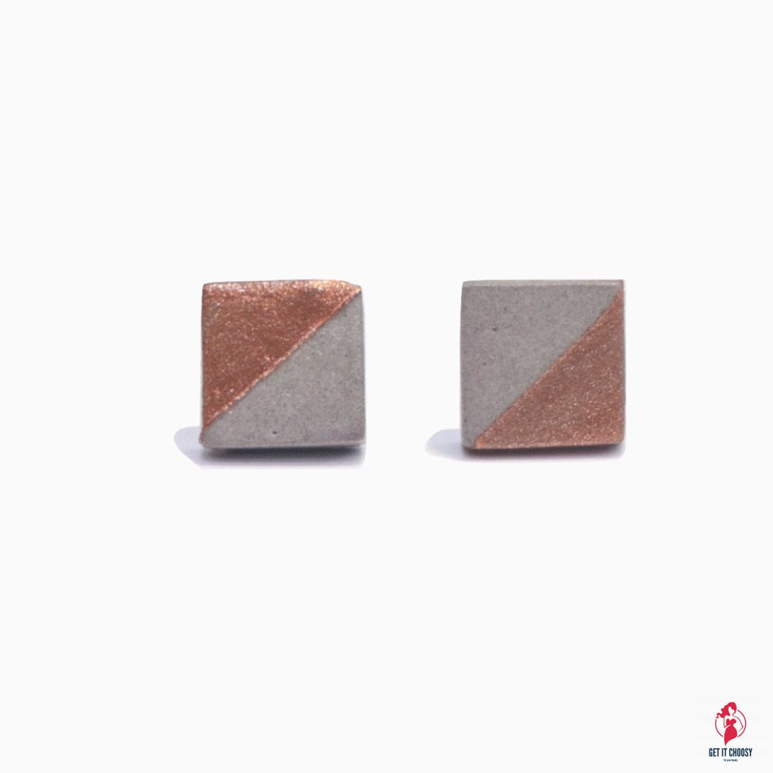 Handmade Bronze Square Concrete Earrings by Getitchoosy