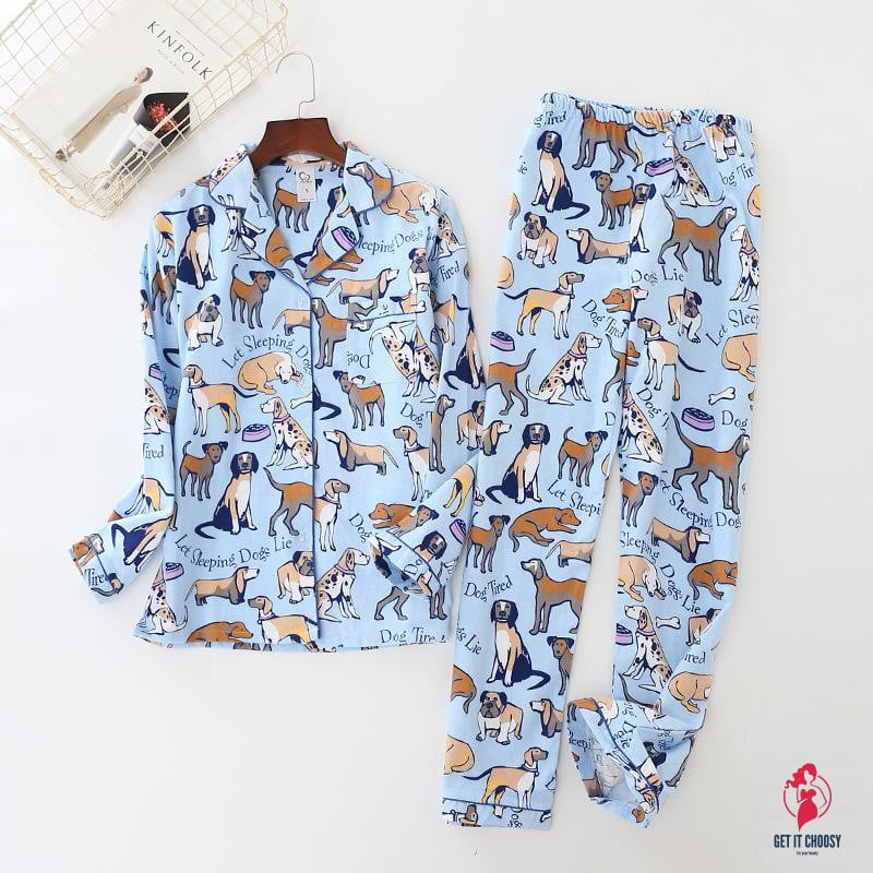 home suit Cotton Women Pajama Sets Cute Cartoon by Getitchoosy