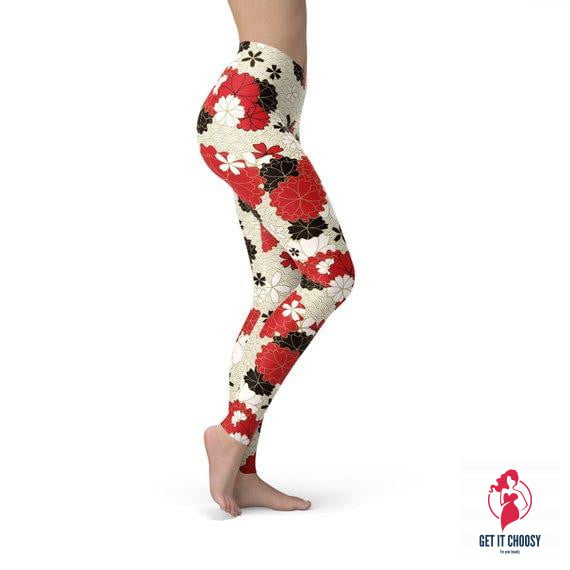 Womens Japanese Cherry Blossom Leggings by Getitchoosy