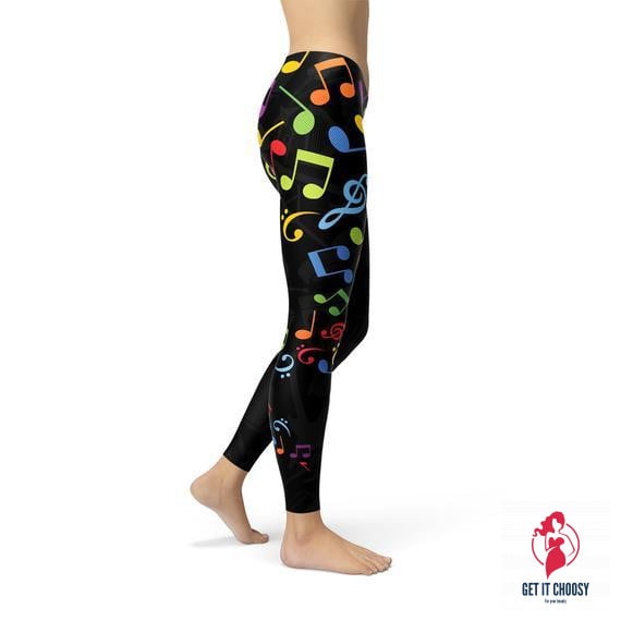 Womens Colorful Music Notes Leggings by Getitchoosy