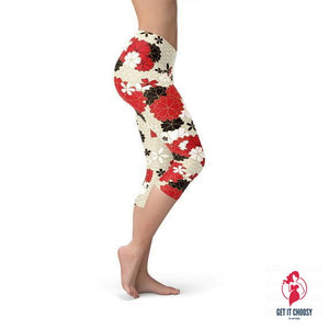 Womens Japanese Cherry Blossom Capri Leggings by Getitchoosy
