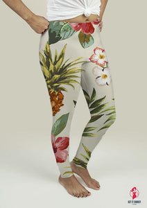 Leggings with Tropical flowers with pineapple by Getitchoosy