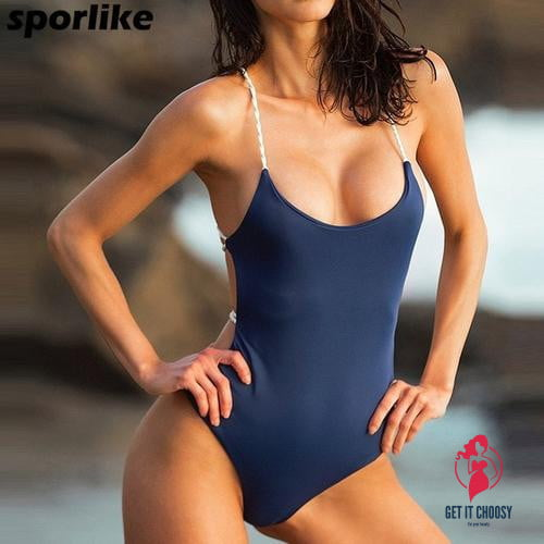 one piece swimsuit Summer Blue Black Sexy by Getitchoosy