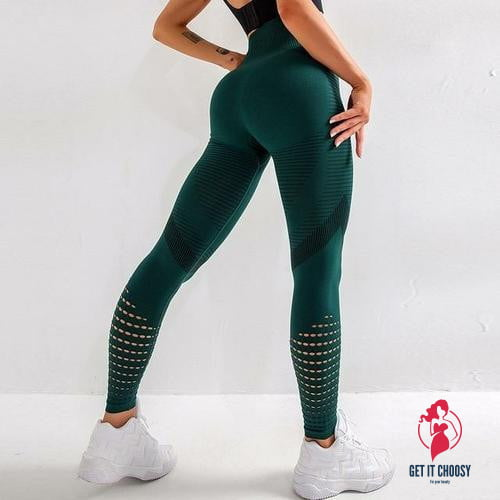 Hollow Out Fitness Gym Leggings Women Seamless Energy Tights Workout - Get It Choosy