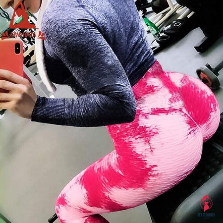 Tie-dye Booty Yoga Pants Women Fitness High Waisted Ruched Butt Lift