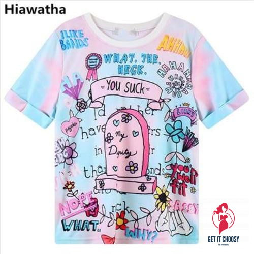 Harajuku Style Cartoon Letters Printed shirts by Getitchoosy