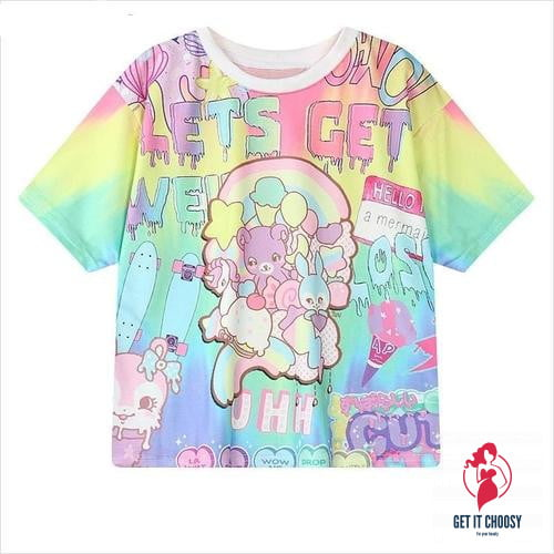 Women Harajuku Letters Printed T-Shirts Casual Loose by Getitchoosy