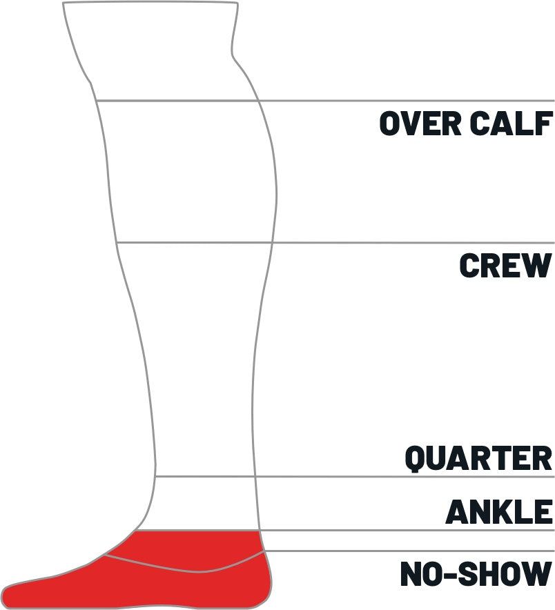 Kane Sock size height guide for ankle