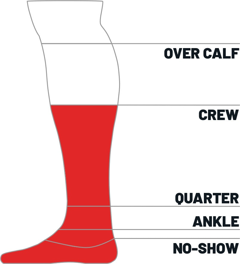 Kane Sock size height guide for crew