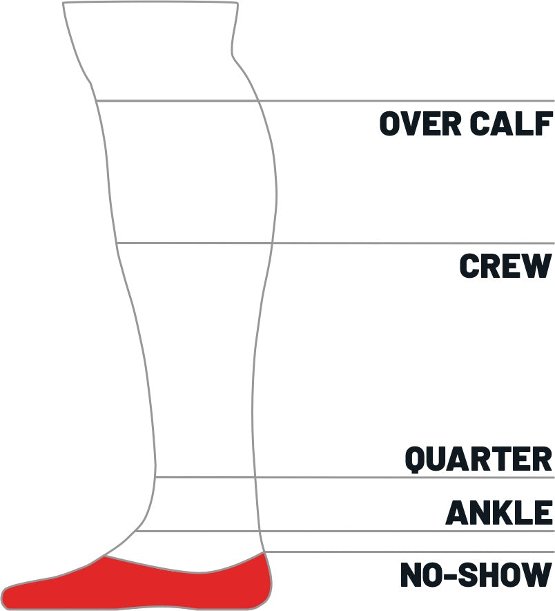 Kane Sock size height guide for No-show
