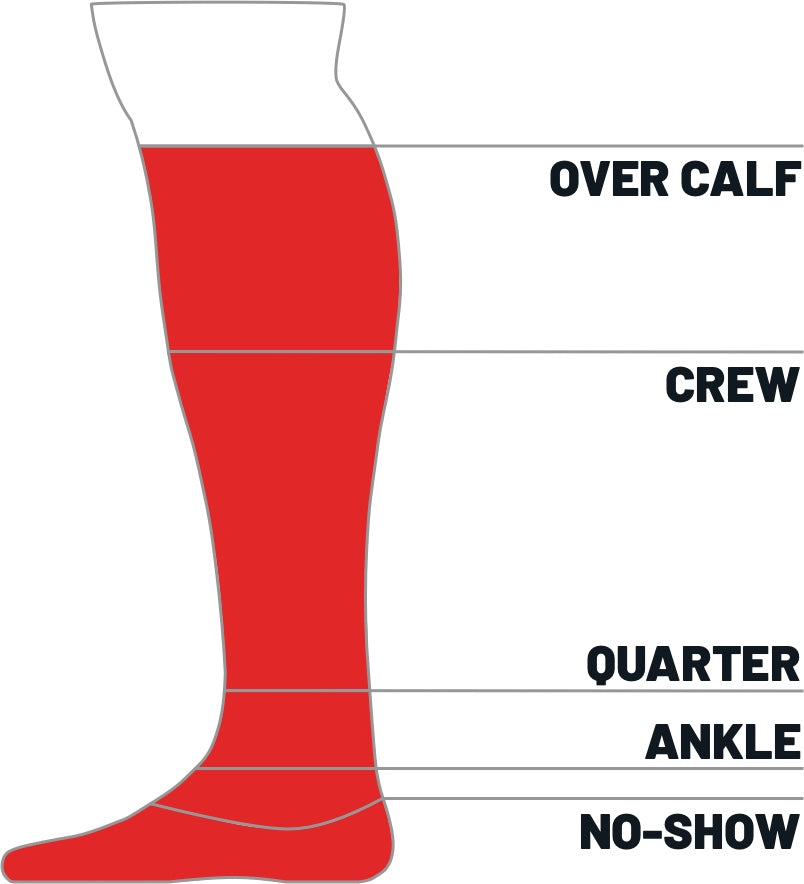 Kane Sock size height guide for over the calf